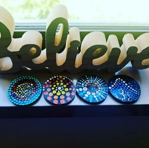 Other - Hand Painted Mandala art refrigerator magnets